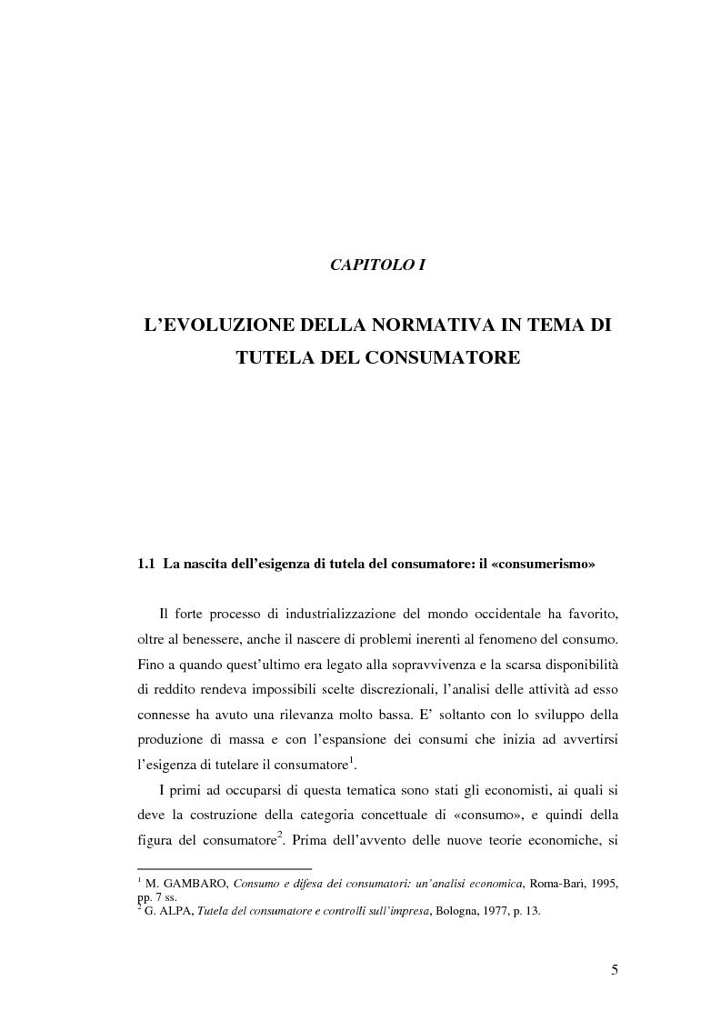 Anteprima della tesi: Il Codice del consumo. D.Lgs. 6 settembre 2005, n. 206, Pagina 4