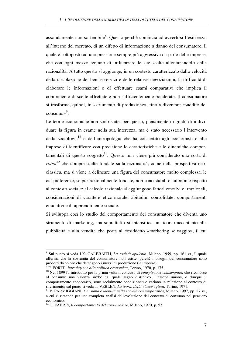 Anteprima della tesi: Il Codice del consumo. D.Lgs. 6 settembre 2005, n. 206, Pagina 6