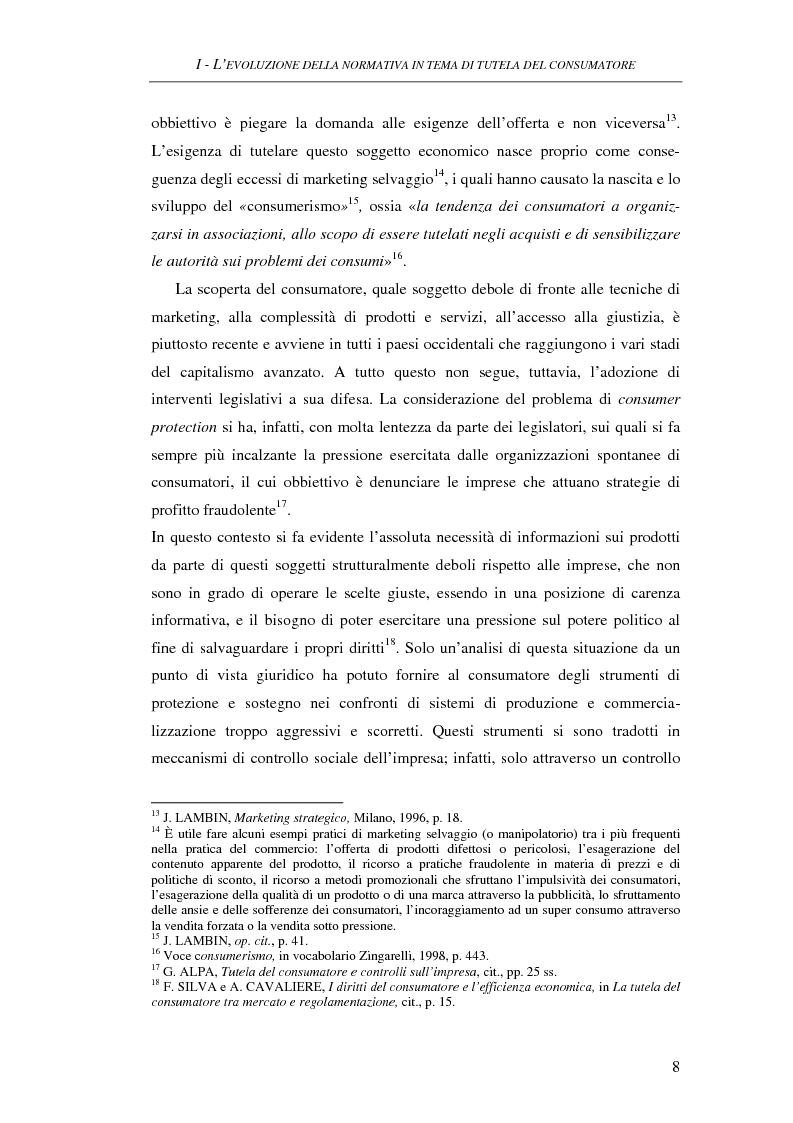Anteprima della tesi: Il Codice del consumo. D.Lgs. 6 settembre 2005, n. 206, Pagina 7