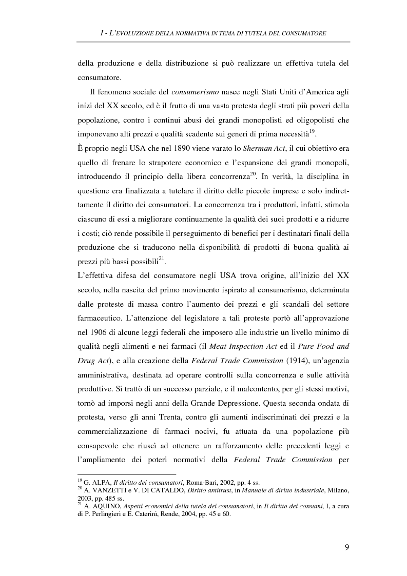 Anteprima della tesi: Il Codice del consumo. D.Lgs. 6 settembre 2005, n. 206, Pagina 8
