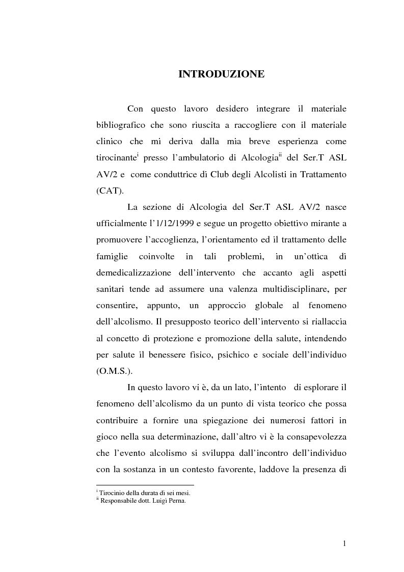Anteprima della tesi: La famiglia alcolista. Esperienza di trattamento in un servizio alcologico territoriale e in un gruppo di auto-aiuto., Pagina 1