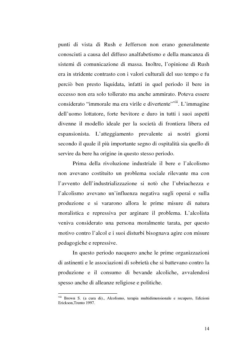 Anteprima della tesi: La famiglia alcolista. Esperienza di trattamento in un servizio alcologico territoriale e in un gruppo di auto-aiuto., Pagina 14