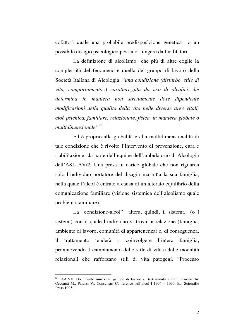 Anteprima della tesi: La famiglia alcolista. Esperienza di trattamento in un servizio alcologico territoriale e in un gruppo di auto-aiuto., Pagina 2