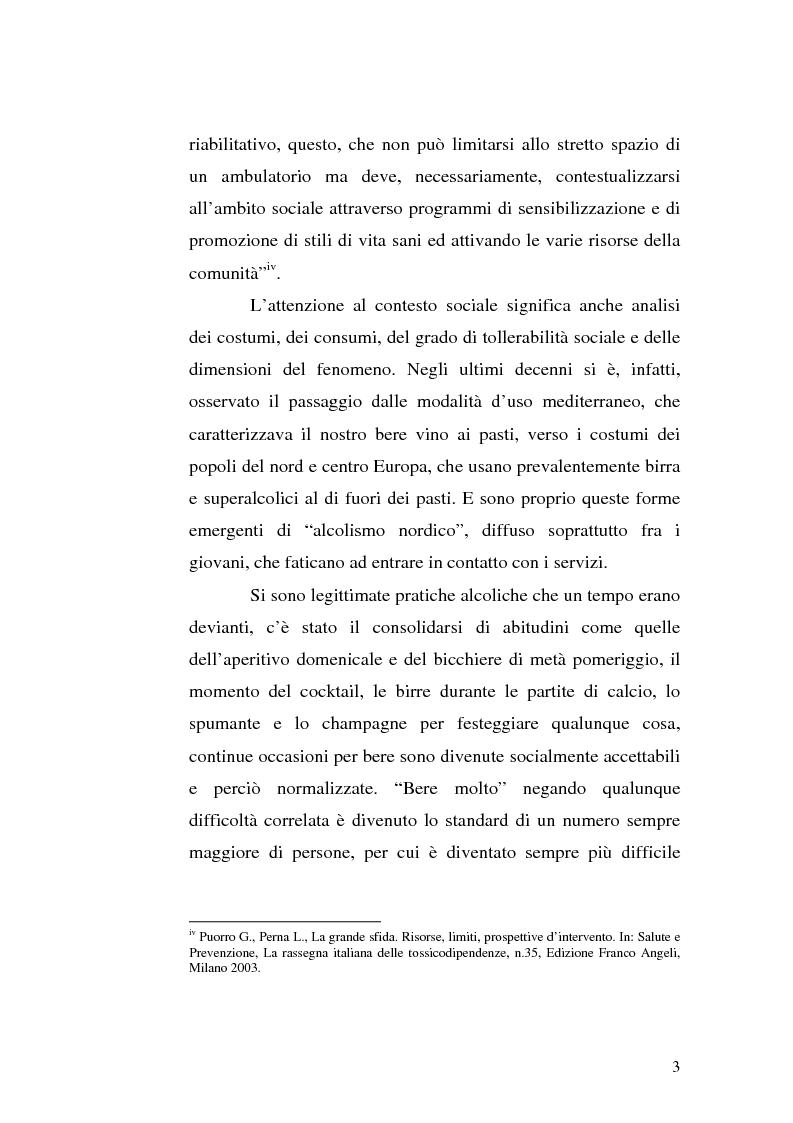 Anteprima della tesi: La famiglia alcolista. Esperienza di trattamento in un servizio alcologico territoriale e in un gruppo di auto-aiuto., Pagina 3