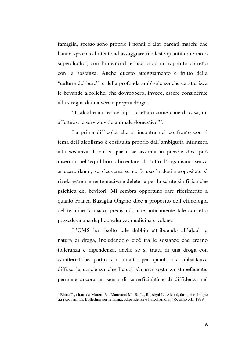Anteprima della tesi: La famiglia alcolista. Esperienza di trattamento in un servizio alcologico territoriale e in un gruppo di auto-aiuto., Pagina 6