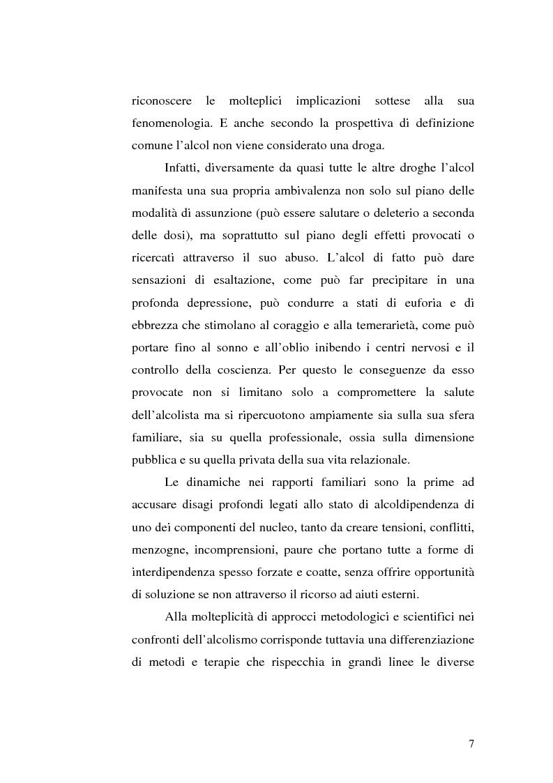 Anteprima della tesi: La famiglia alcolista. Esperienza di trattamento in un servizio alcologico territoriale e in un gruppo di auto-aiuto., Pagina 7