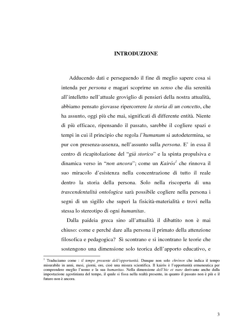 Anteprima della tesi: Il concetto di ''persona'' tra teoria e prassi educative, Pagina 1