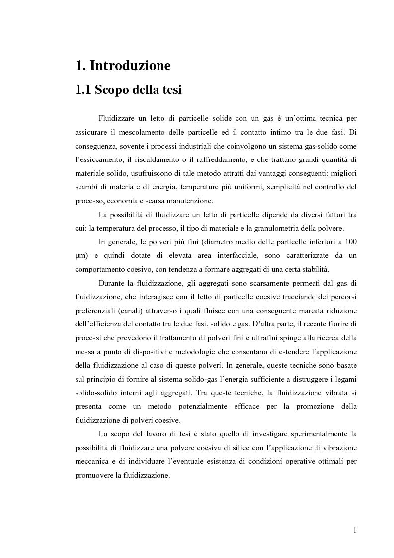 Anteprima della tesi: Esperimenti di fluidizzazione vibrata di una polvere coesiva di silice, Pagina 1