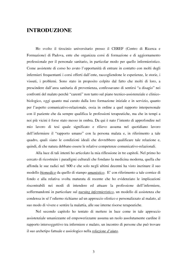 Anteprima della tesi: La relazione tra infermiere e persona malata: il nodo strategico della professione, Pagina 1