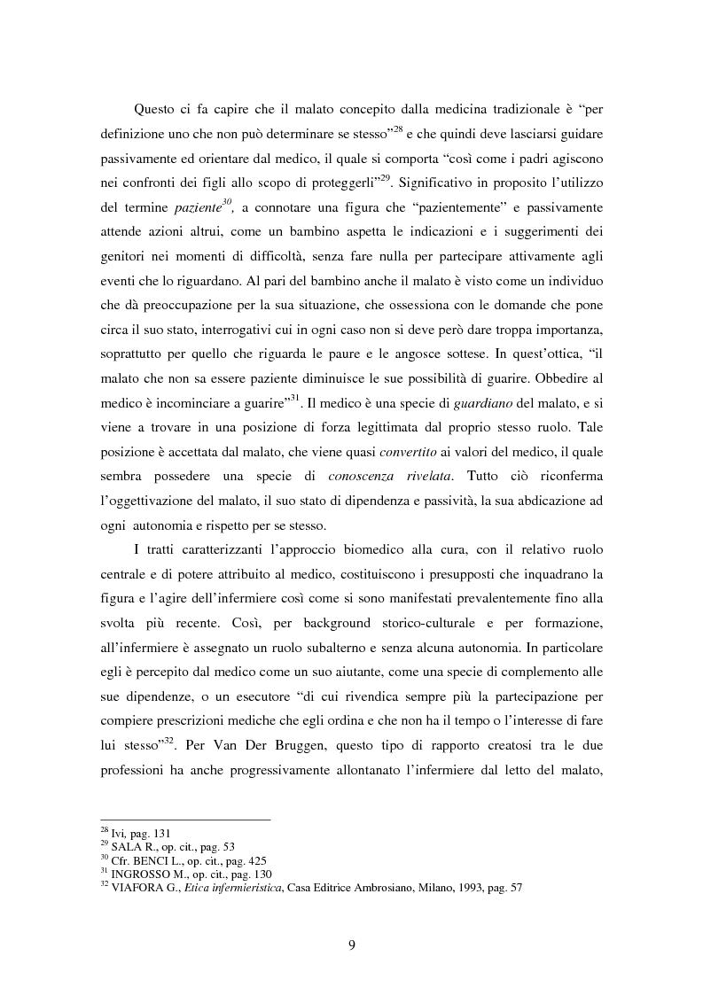Anteprima della tesi: La relazione tra infermiere e persona malata: il nodo strategico della professione, Pagina 7