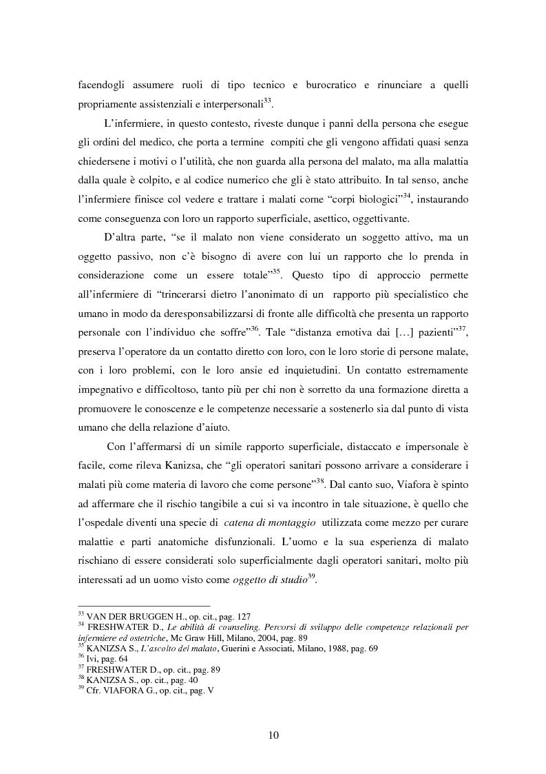 Anteprima della tesi: La relazione tra infermiere e persona malata: il nodo strategico della professione, Pagina 8