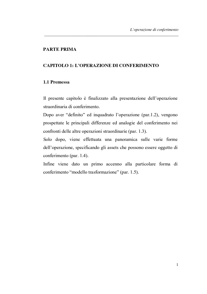 Anteprima della tesi: Similitudini tra operazioni straordinarie d'impresa. Il conferimento ''modello trasformazione''. Analisi di un caso empirico., Pagina 5