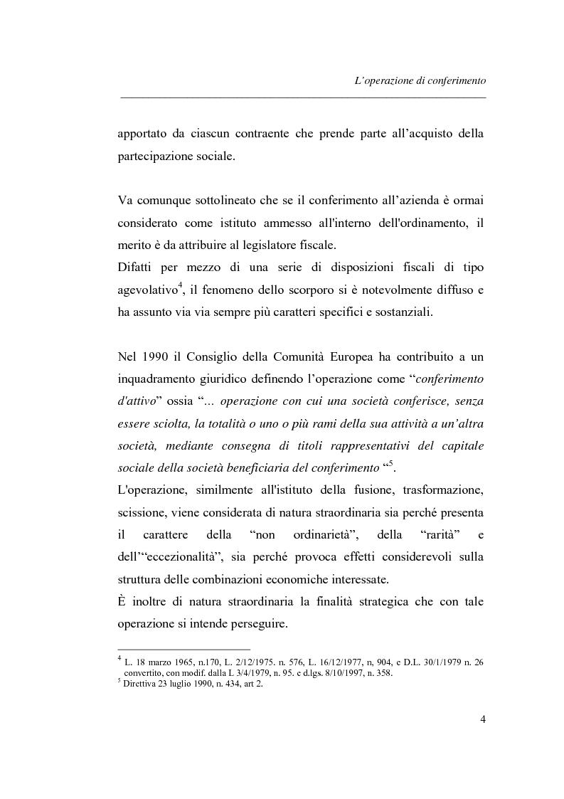 Anteprima della tesi: Similitudini tra operazioni straordinarie d'impresa. Il conferimento ''modello trasformazione''. Analisi di un caso empirico., Pagina 8