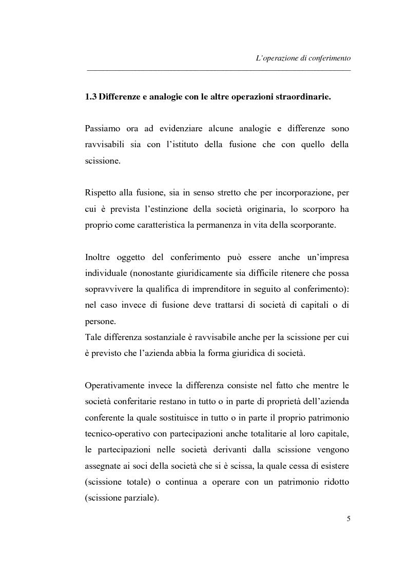 Anteprima della tesi: Similitudini tra operazioni straordinarie d'impresa. Il conferimento ''modello trasformazione''. Analisi di un caso empirico., Pagina 9