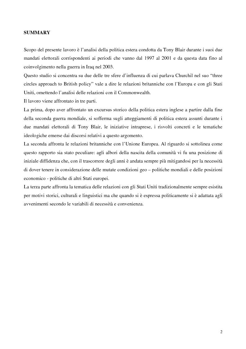 Anteprima della tesi: La politica estera dei governi Blair, Pagina 1
