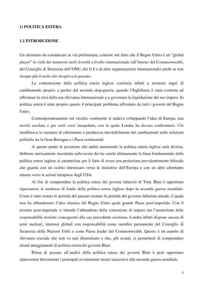 Anteprima della tesi: La politica estera dei governi Blair, Pagina 2