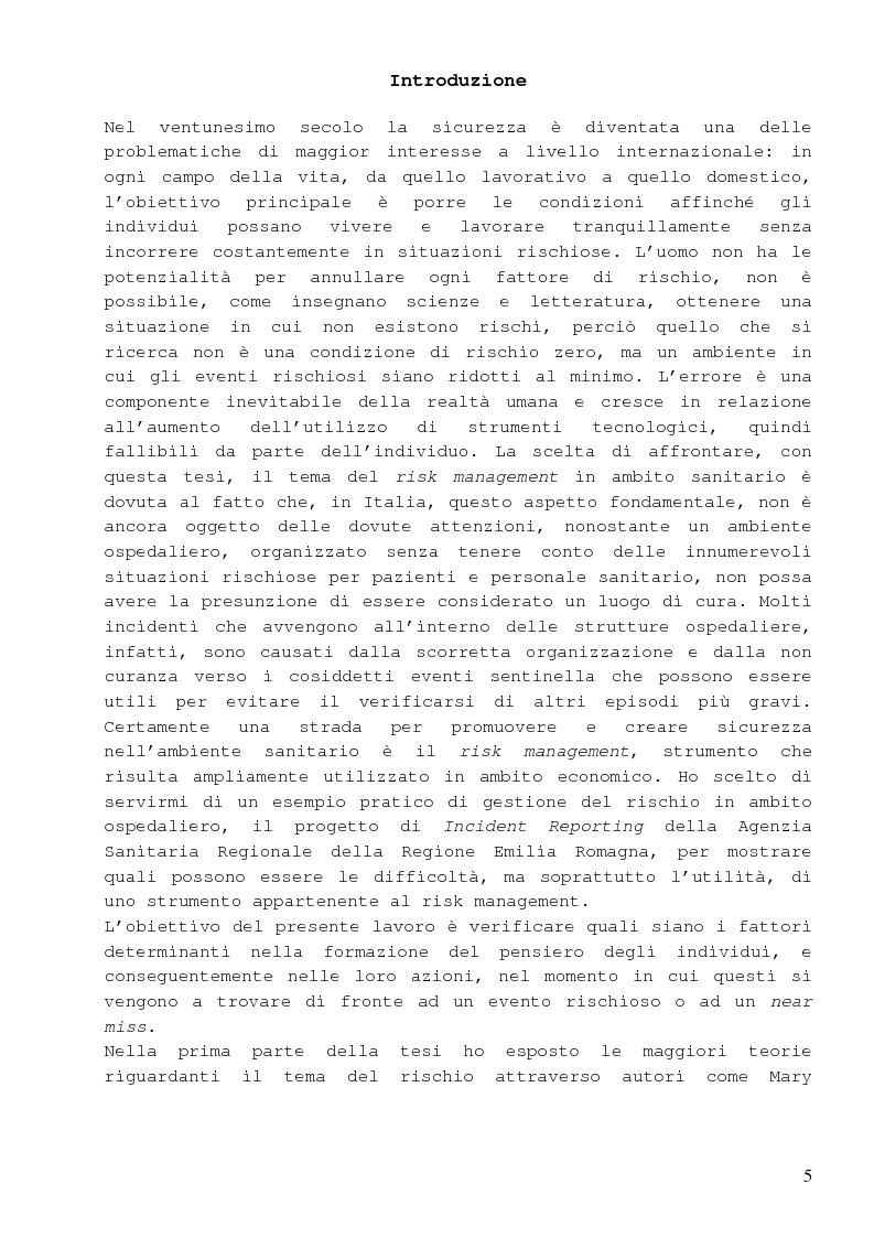 Anteprima della tesi: Dalla percezione del rischio al risk management in sanità, il sistema di incident reporting della Regione Emilia Romagna, Pagina 1