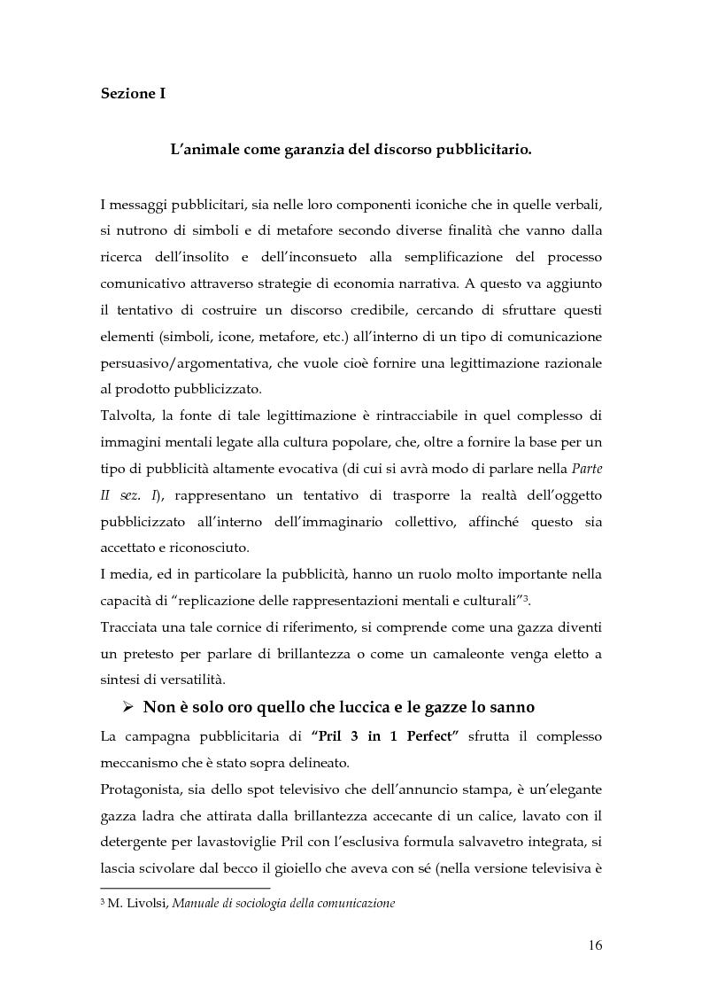 Anteprima della tesi: Animal spot: ruoli e significati degli animali nelle campagne pubblicitarie, Pagina 13