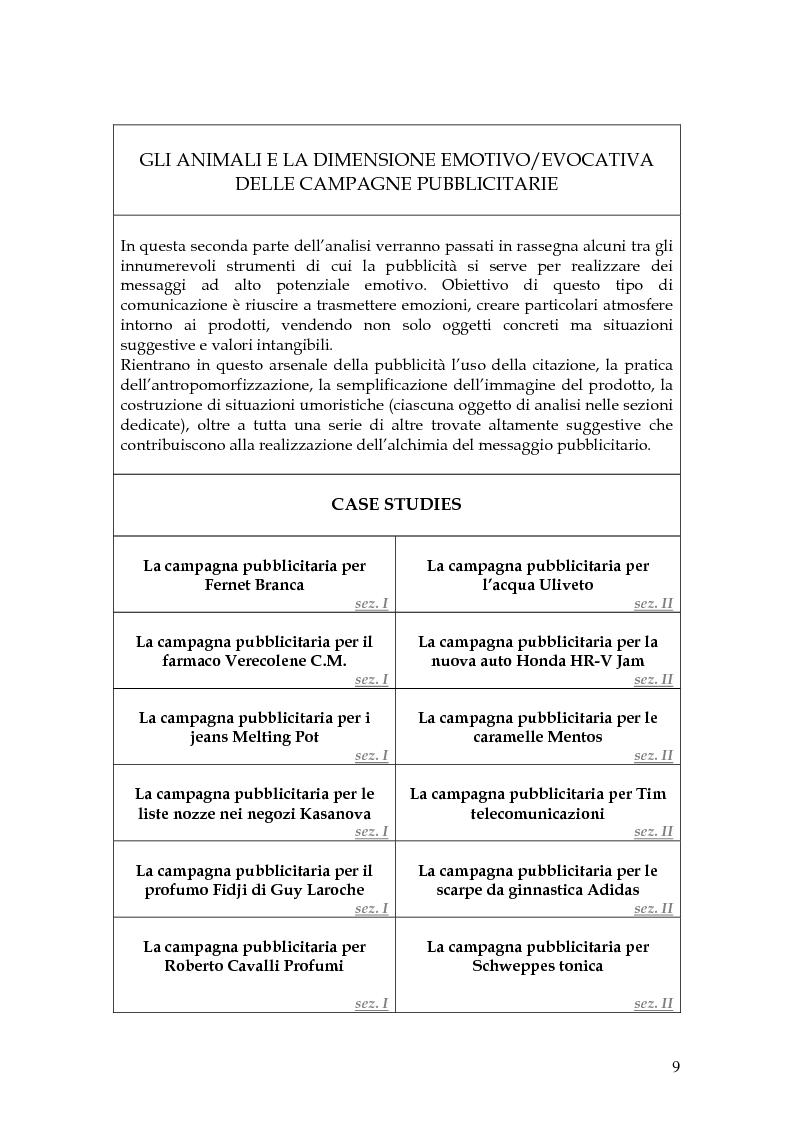 Anteprima della tesi: Animal spot: ruoli e significati degli animali nelle campagne pubblicitarie, Pagina 6