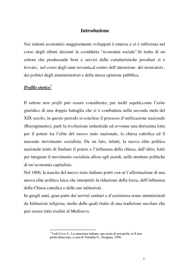 Anteprima della tesi: Organizzazioni non profit: normativa di riferimento e attività di controllo, Pagina 1