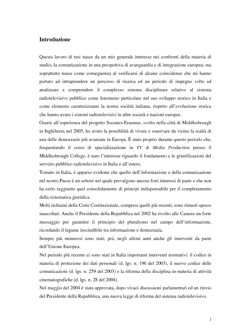 Anteprima della tesi: Il sistema radiotelevisivo tra pubblico e privato. Una proposta di legge di iniziativa popolare, Pagina 1