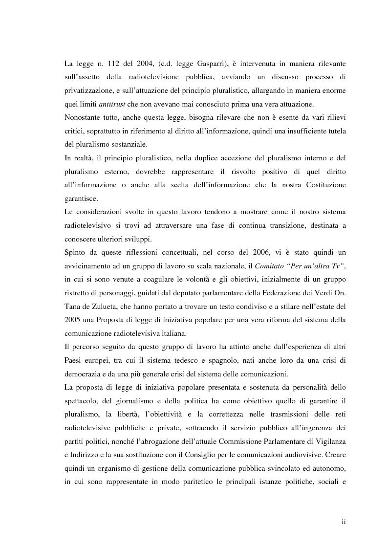 Anteprima della tesi: Il sistema radiotelevisivo tra pubblico e privato. Una proposta di legge di iniziativa popolare, Pagina 2