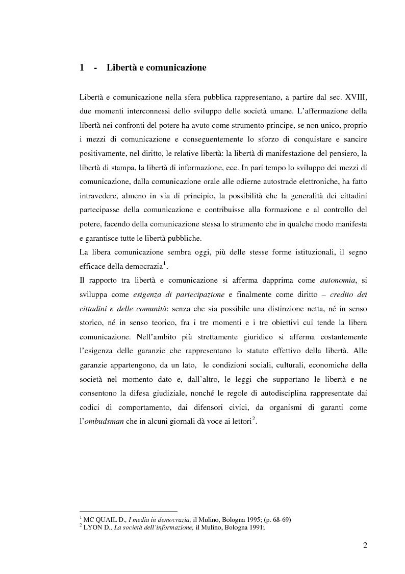Anteprima della tesi: Il sistema radiotelevisivo tra pubblico e privato. Una proposta di legge di iniziativa popolare, Pagina 5