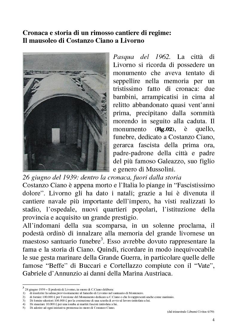 Anteprima della tesi: Studio e recupero del mausoleo di Costanzo Ciano a Livorno, Pagina 3