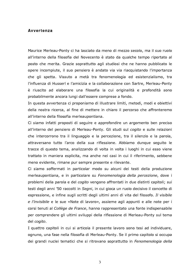 Anteprima della tesi: Cogito tacito e cogito parlato nella filosofia di Maurice Merleau-Ponty, Pagina 1