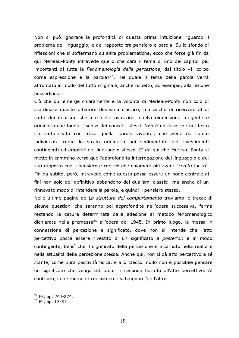 Anteprima della tesi: Cogito tacito e cogito parlato nella filosofia di Maurice Merleau-Ponty, Pagina 13