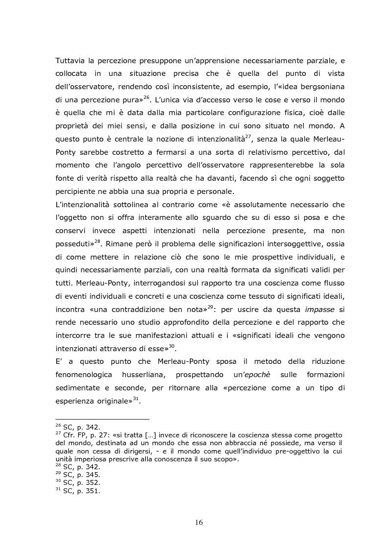 Anteprima della tesi: Cogito tacito e cogito parlato nella filosofia di Maurice Merleau-Ponty, Pagina 14