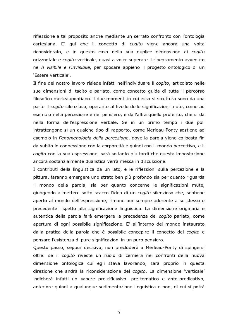 Anteprima della tesi: Cogito tacito e cogito parlato nella filosofia di Maurice Merleau-Ponty, Pagina 3