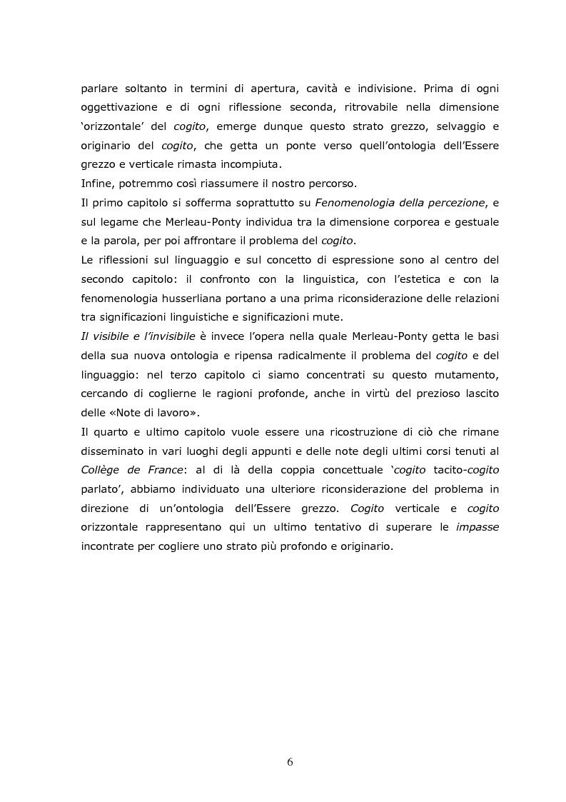 Anteprima della tesi: Cogito tacito e cogito parlato nella filosofia di Maurice Merleau-Ponty, Pagina 4