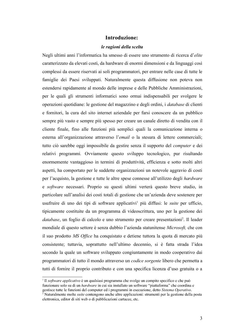 Anteprima della tesi: Total cost of ownership: una comparazione Office - Open Office, Pagina 1