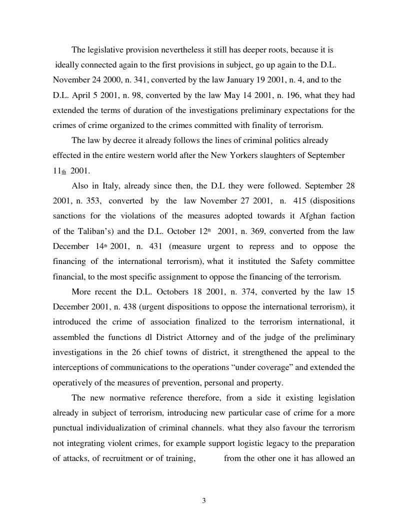 Anteprima della tesi: Terrorism and Italian Legislation: the law 155/2005, Pagina 2