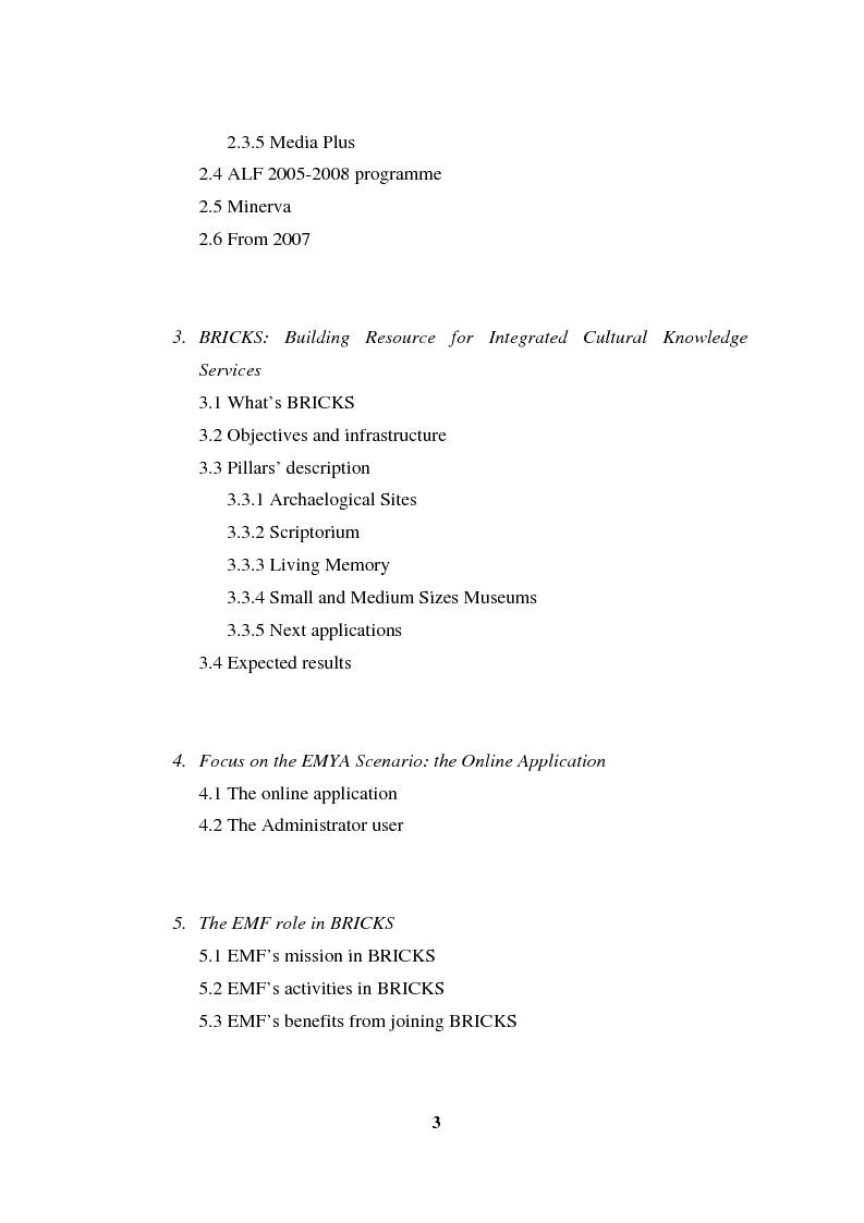 Indice della tesi: Going Digital: the European Museum Forum Experience within the European Union BRICKS Project, Pagina 2