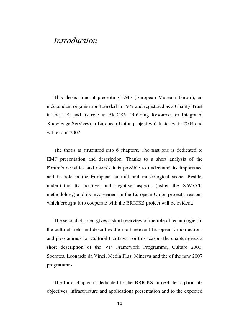 Anteprima della tesi: Going Digital: the European Museum Forum Experience within the European Union BRICKS Project, Pagina 1