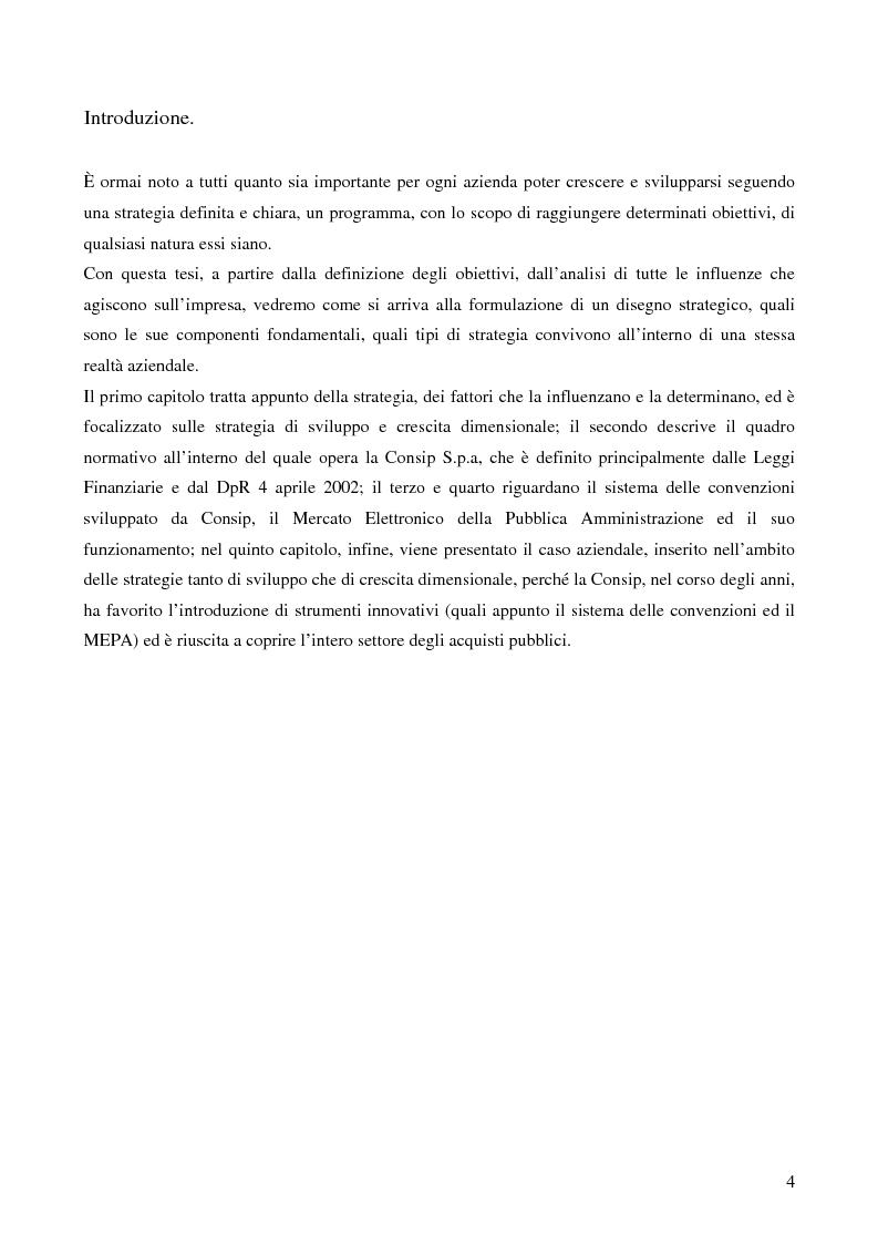 Anteprima della tesi: Le strategie di crescita e sviluppo dimensionale. Il caso Consip S.p.a., Pagina 1