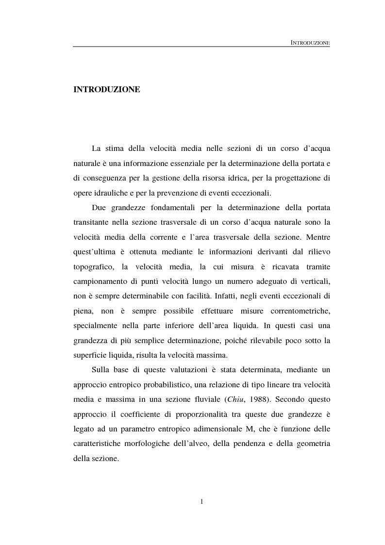 Anteprima della tesi: La determinazione della velocità media in una sezione fluviale mediante approccio entropico, Pagina 1