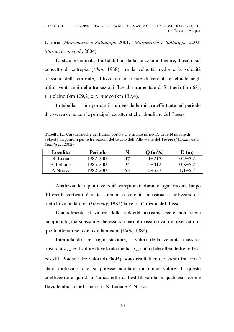 Anteprima della tesi: La determinazione della velocità media in una sezione fluviale mediante approccio entropico, Pagina 13