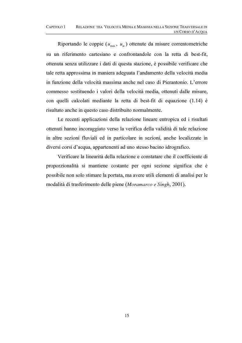Anteprima della tesi: La determinazione della velocità media in una sezione fluviale mediante approccio entropico, Pagina 15