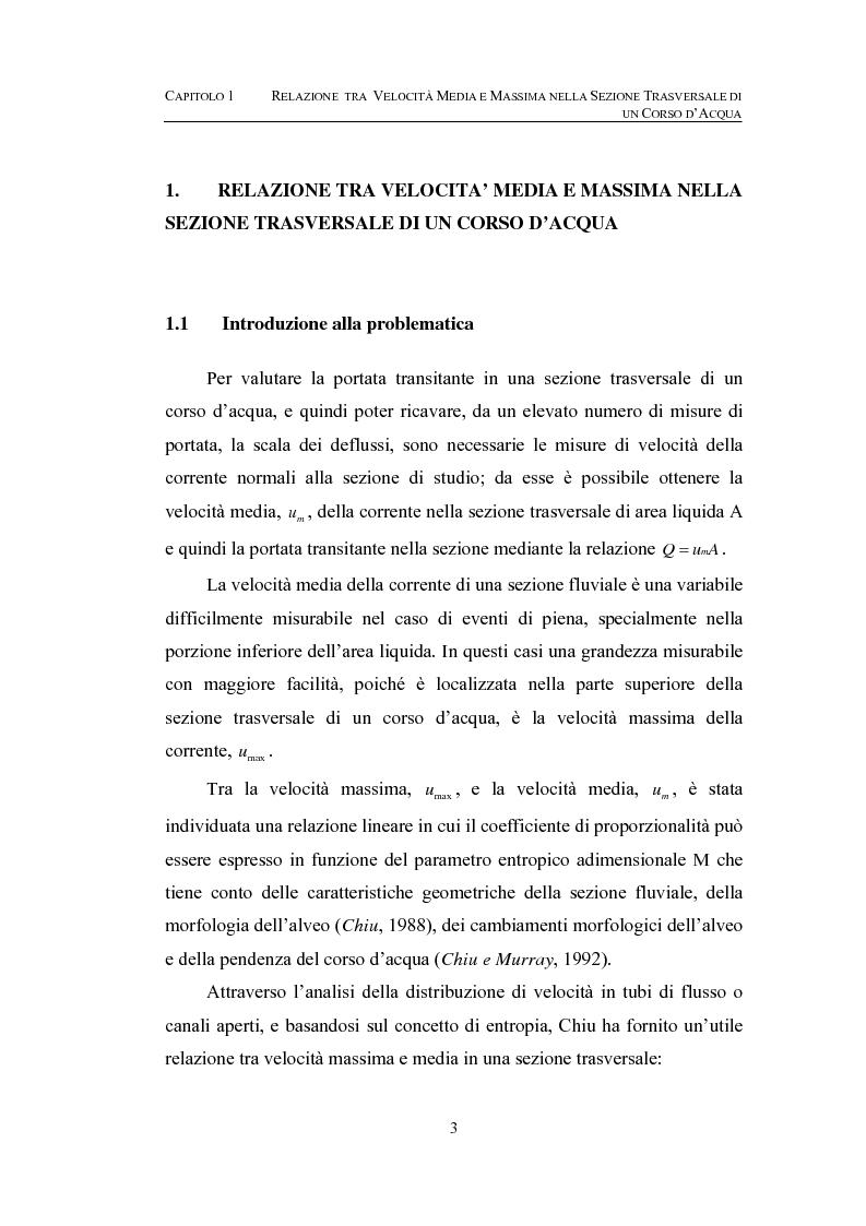 Anteprima della tesi: La determinazione della velocità media in una sezione fluviale mediante approccio entropico, Pagina 3