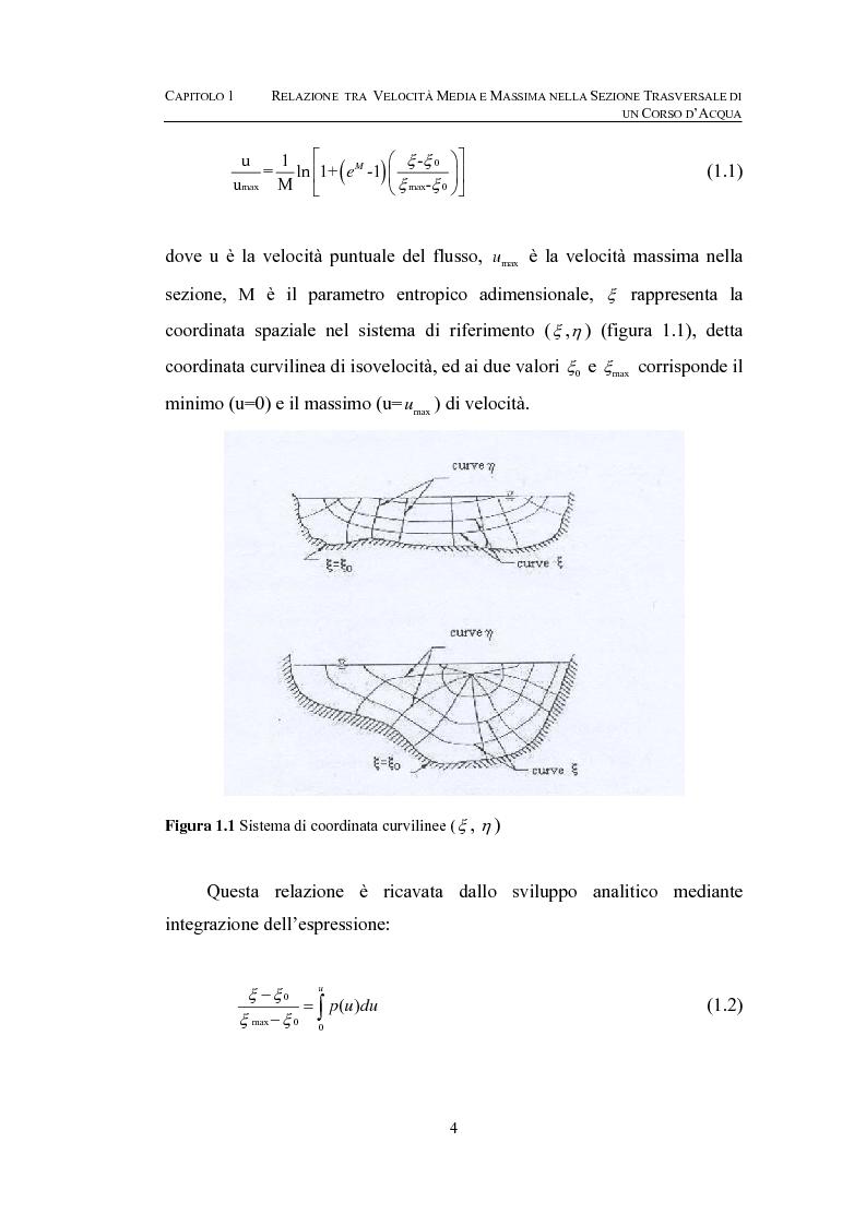 Anteprima della tesi: La determinazione della velocità media in una sezione fluviale mediante approccio entropico, Pagina 4
