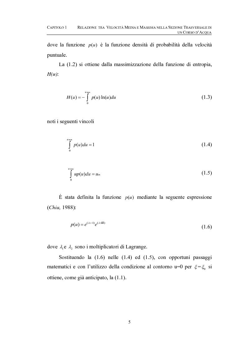 Anteprima della tesi: La determinazione della velocità media in una sezione fluviale mediante approccio entropico, Pagina 5