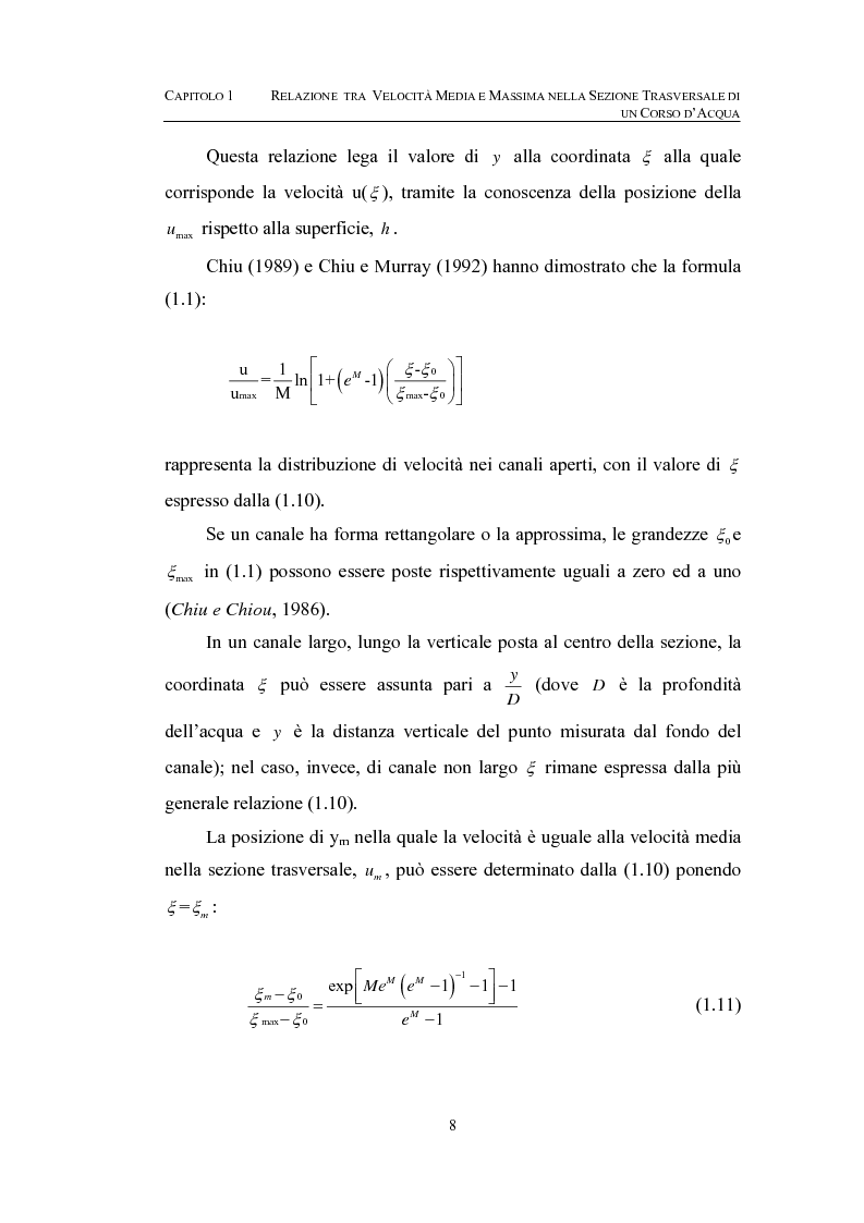 Anteprima della tesi: La determinazione della velocità media in una sezione fluviale mediante approccio entropico, Pagina 8