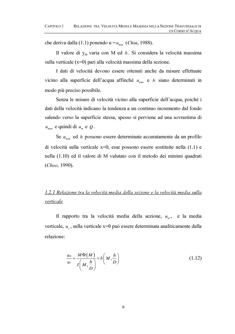 Anteprima della tesi: La determinazione della velocità media in una sezione fluviale mediante approccio entropico, Pagina 9