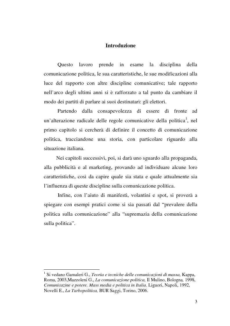 Anteprima della tesi: La comunicazione politica: tra propaganda, pubblicità e marketing, Pagina 1