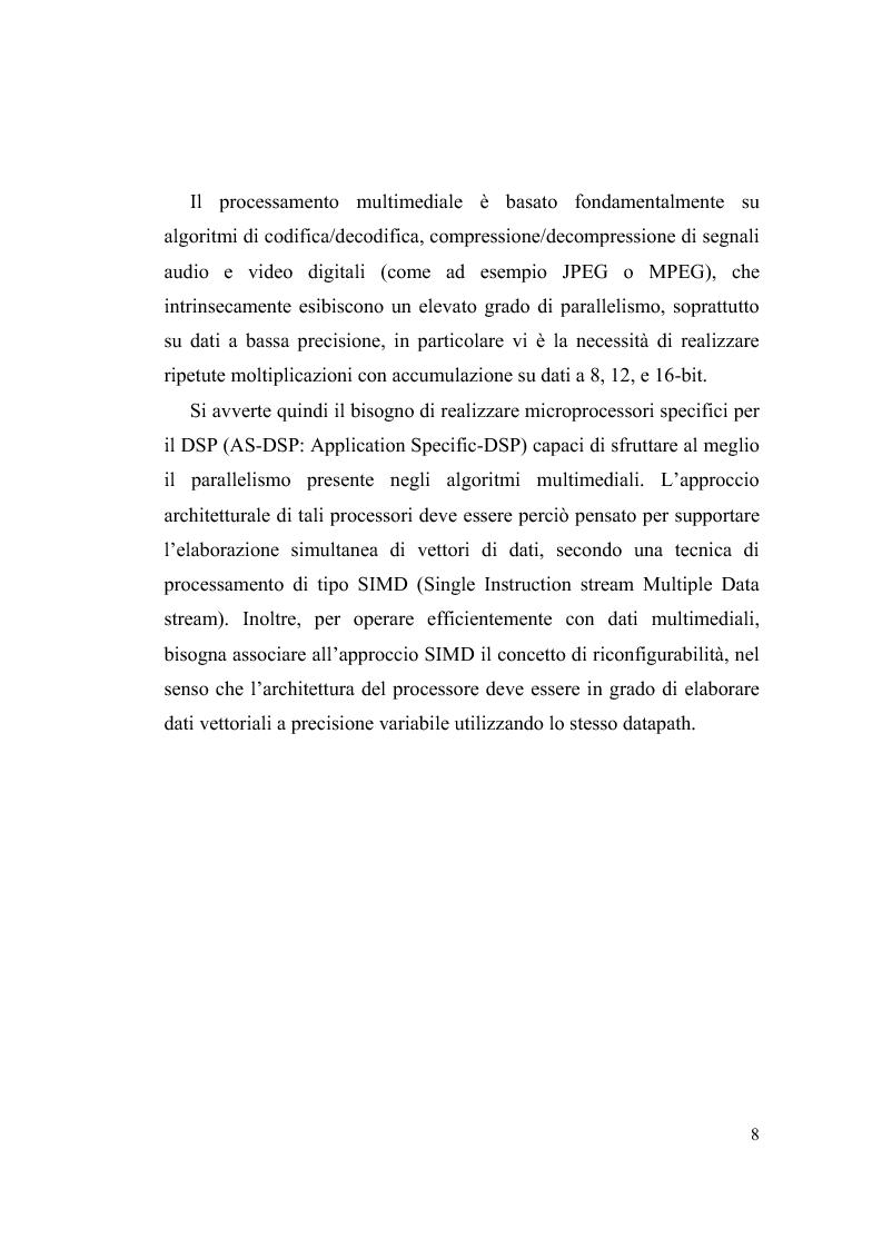 Anteprima della tesi: Progettazione su Chip FPGA VIRTEX-II di un Moltiplicatore SIMD per Applicazioni Multimediali, Pagina 2