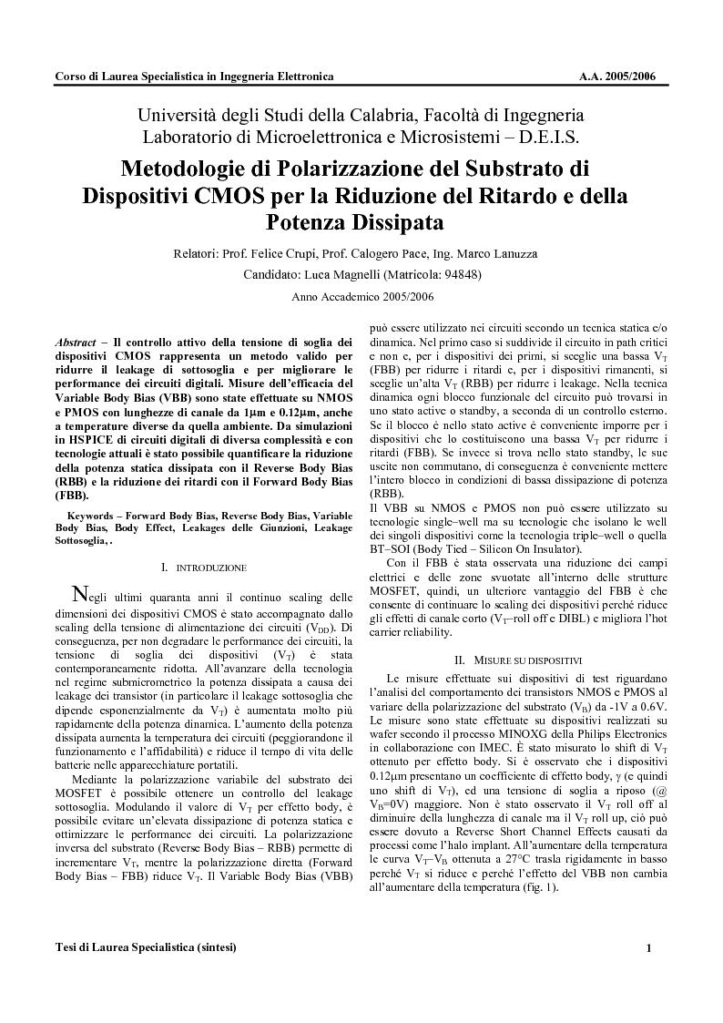 Anteprima della tesi: Metodologie di Polarizzazione del Substrato di Dispositivi CMOS per la Riduzione del Ritardo e della Potenza Dissipata, Pagina 1