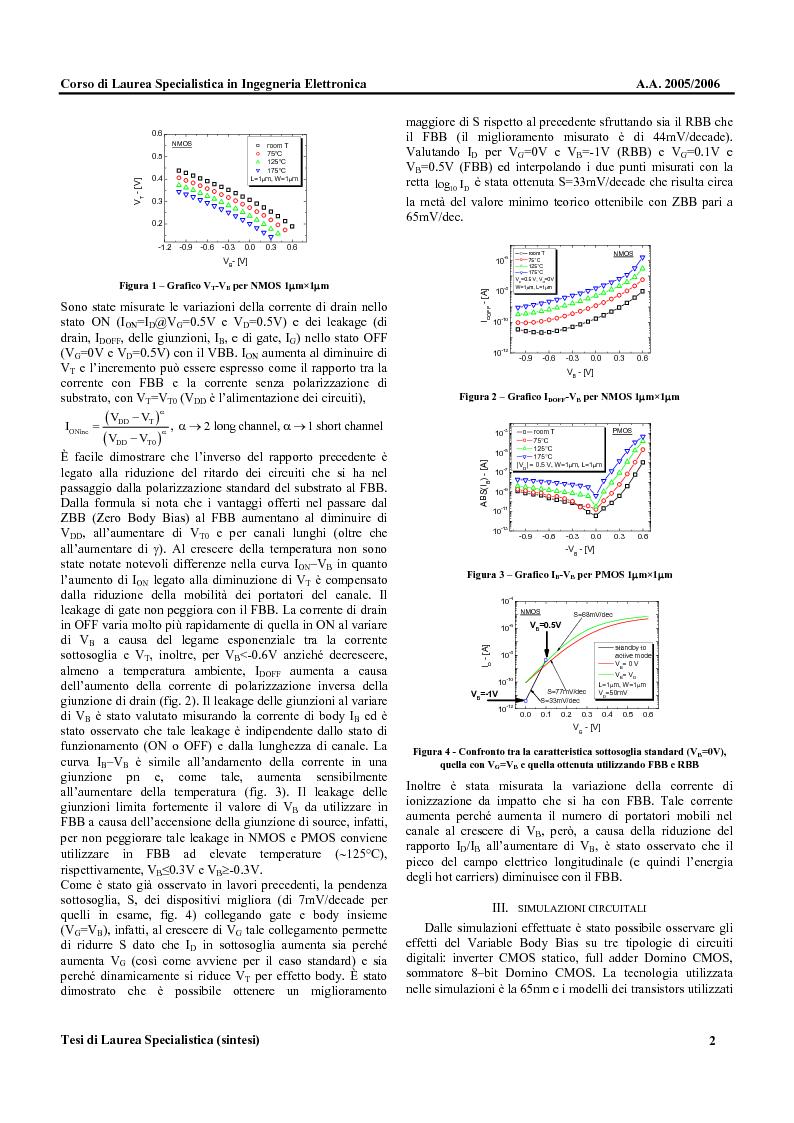 Anteprima della tesi: Metodologie di Polarizzazione del Substrato di Dispositivi CMOS per la Riduzione del Ritardo e della Potenza Dissipata, Pagina 2